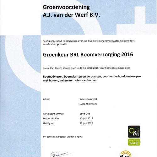 Groenkeur BRL Boomverzorging 2016