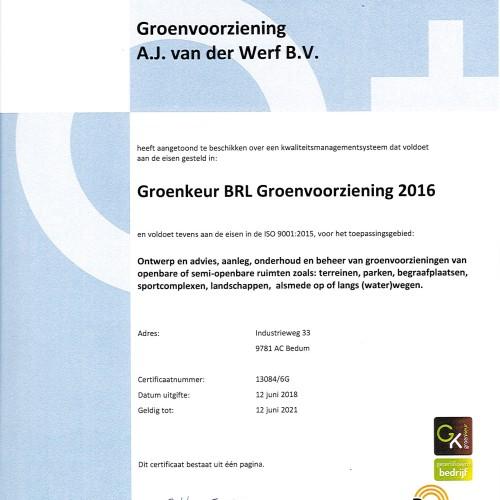 Groenkeur BRL Groenvoorziening 2016